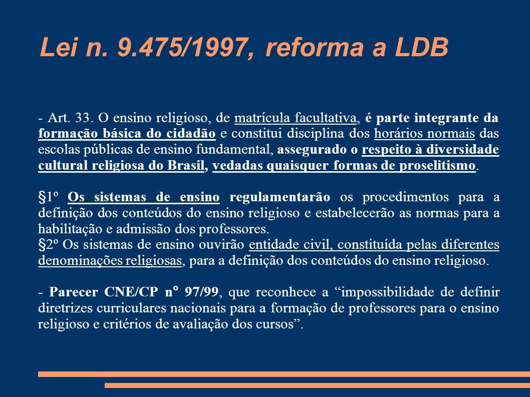 Lei n. 9.475/1997, reforma a LDB - Art. 33. O ensino religioso, de matrícula facultativa, é parte integrante da formação básica do cidadão e constitui