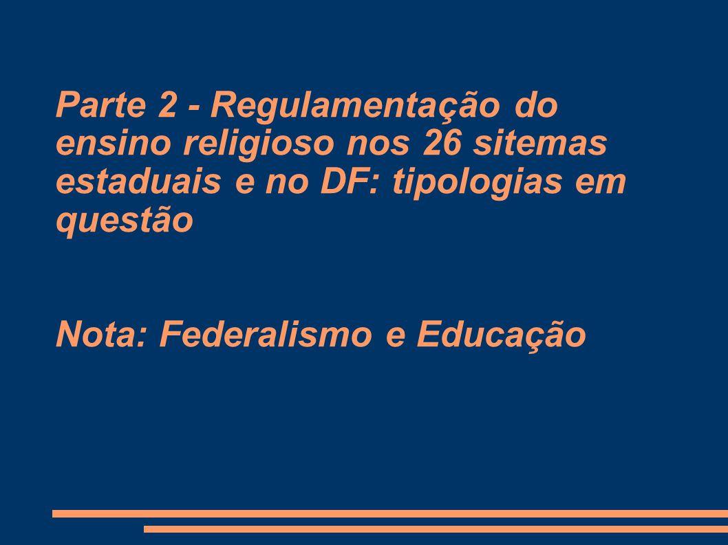 Parte 2 - Regulamentação do ensino religioso nos 26 sitemas estaduais e no DF: tipologias em questão Nota: Federalismo e Educação