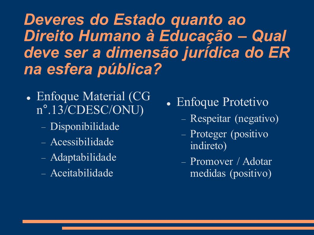 Deveres do Estado quanto ao Direito Humano à Educação – Qual deve ser a dimensão jurídica do ER na esfera pública?  Enfoque Material (CG n°.13/CDESC/
