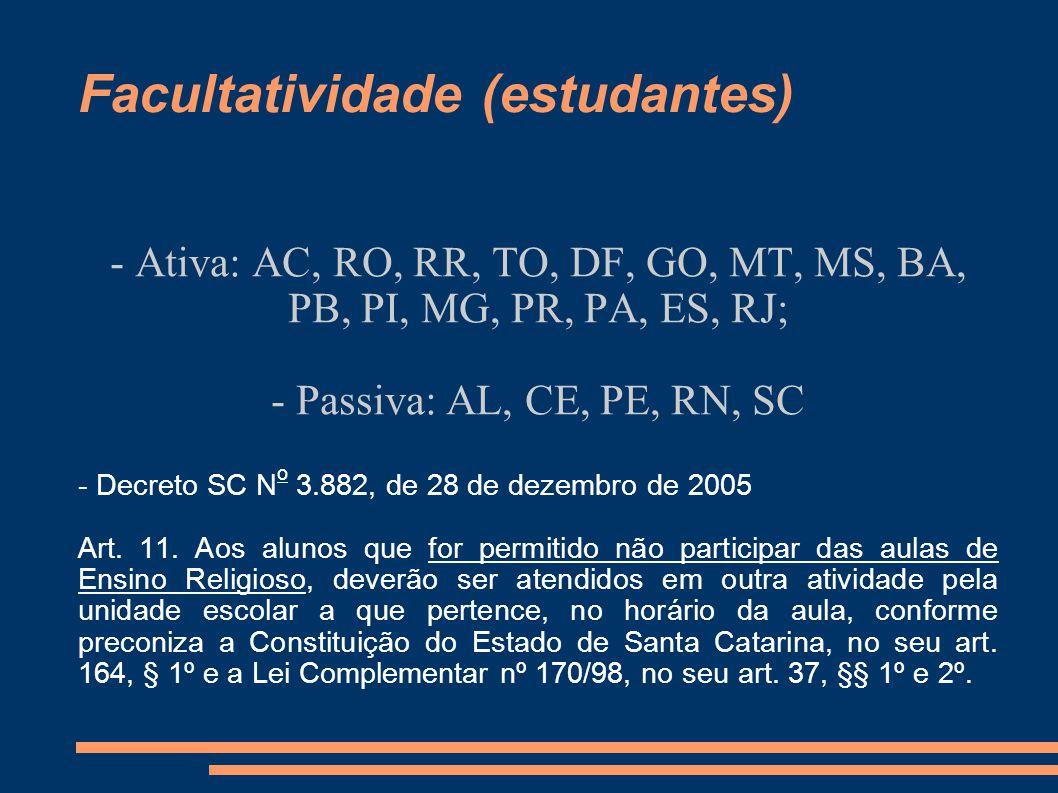 Facultatividade (estudantes) - Ativa: AC, RO, RR, TO, DF, GO, MT, MS, BA, PB, PI, MG, PR, PA, ES, RJ; - Passiva: AL, CE, PE, RN, SC - Decreto SC N o