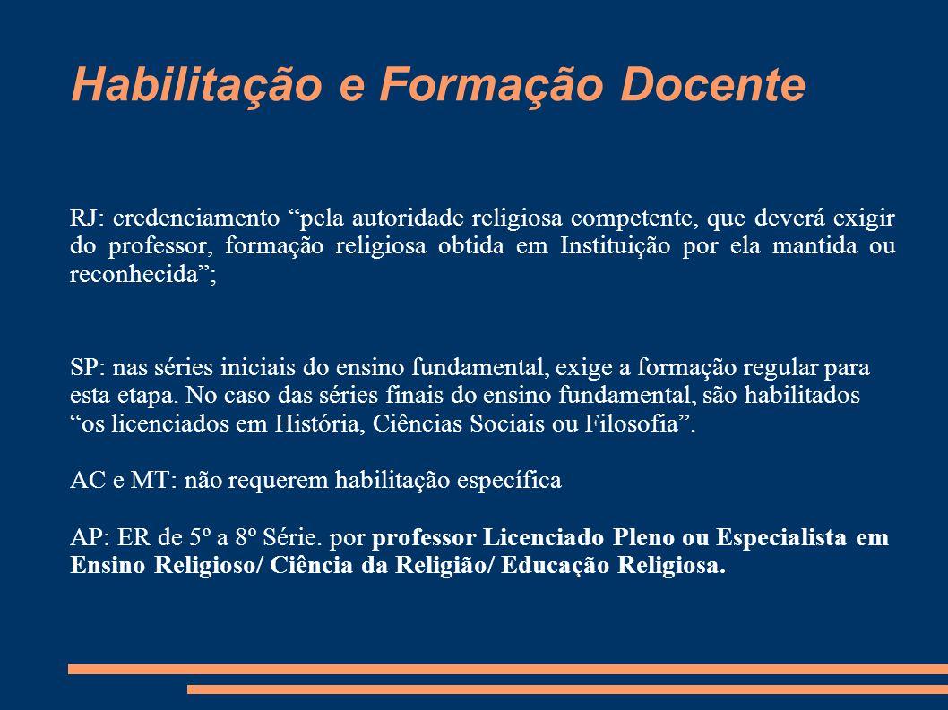 """Habilitação e Formação Docente RJ: credenciamento """"pela autoridade religiosa competente, que deverá exigir do professor, formação religiosa obtida em"""