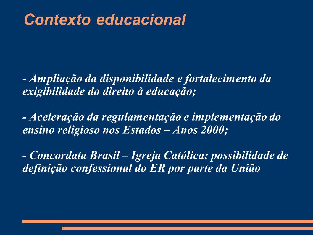 Contexto educacional - Ampliação da disponibilidade e fortalecimento da exigibilidade do direito à educação; - Aceleração da regulamentação e implemen