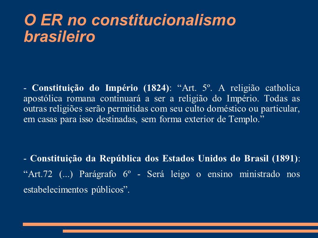 """O ER no constitucionalismo brasileiro - Constituição do Império (1824): """"Art. 5º. A religião catholica apostólica romana continuará a ser a religião d"""