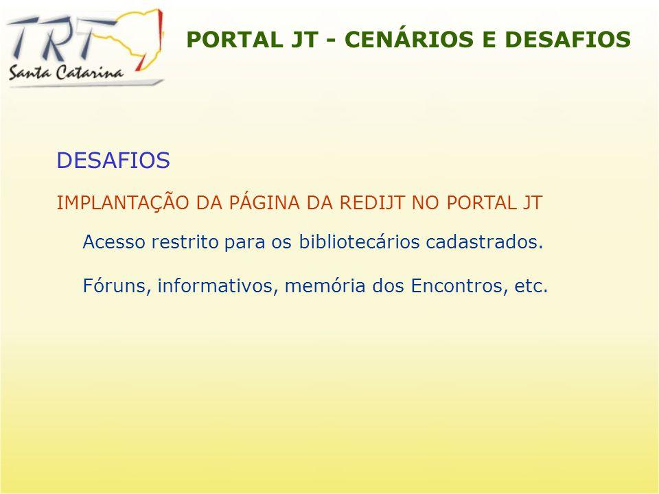 PORTAL JT - CENÁRIOS E DESAFIOS DESAFIOS IMPLANTAÇÃO DA PÁGINA DA REDIJT NO PORTAL JT Acesso restrito para os bibliotecários cadastrados. Fóruns, info