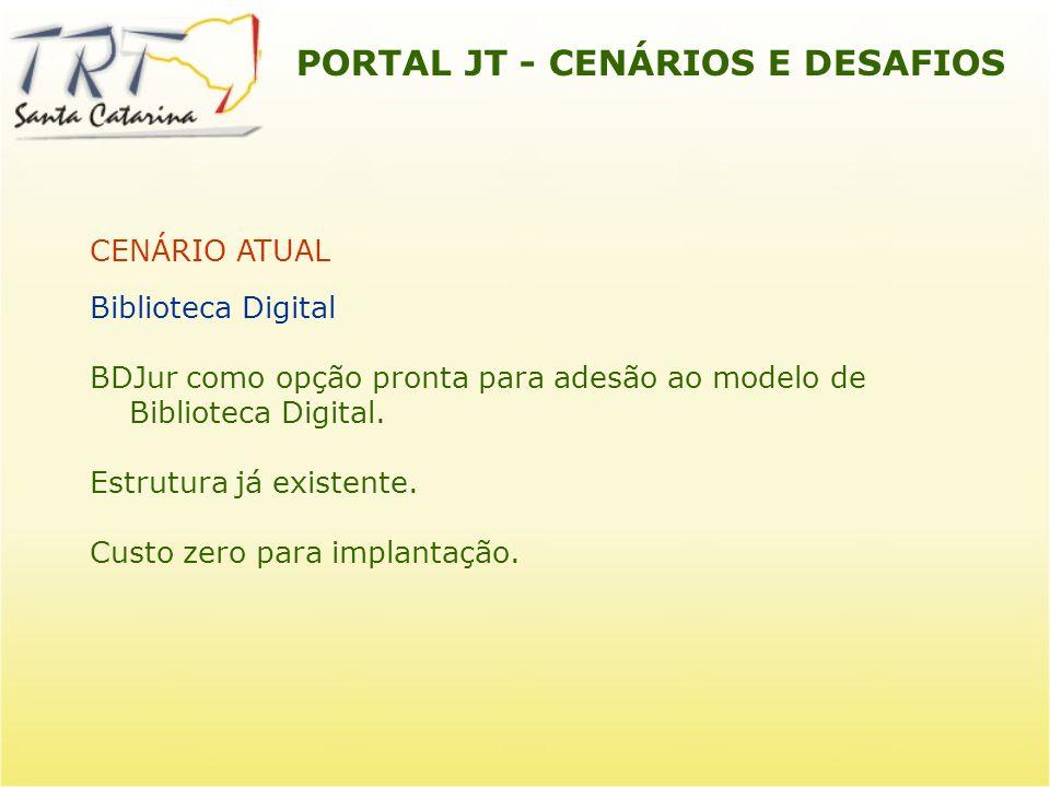 PORTAL JT - CENÁRIOS E DESAFIOS CENÁRIO ATUAL Biblioteca Digital BDJur como opção pronta para adesão ao modelo de Biblioteca Digital. Estrutura já exi