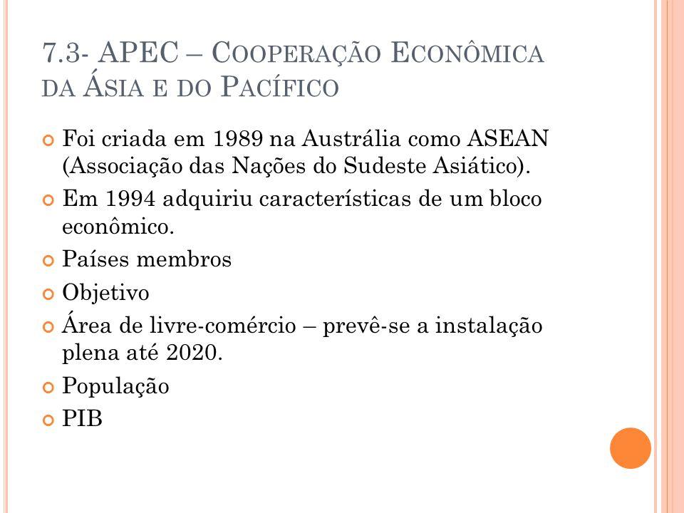 7.3- APEC – C OOPERAÇÃO E CONÔMICA DA Á SIA E DO P ACÍFICO Foi criada em 1989 na Austrália como ASEAN (Associação das Nações do Sudeste Asiático).