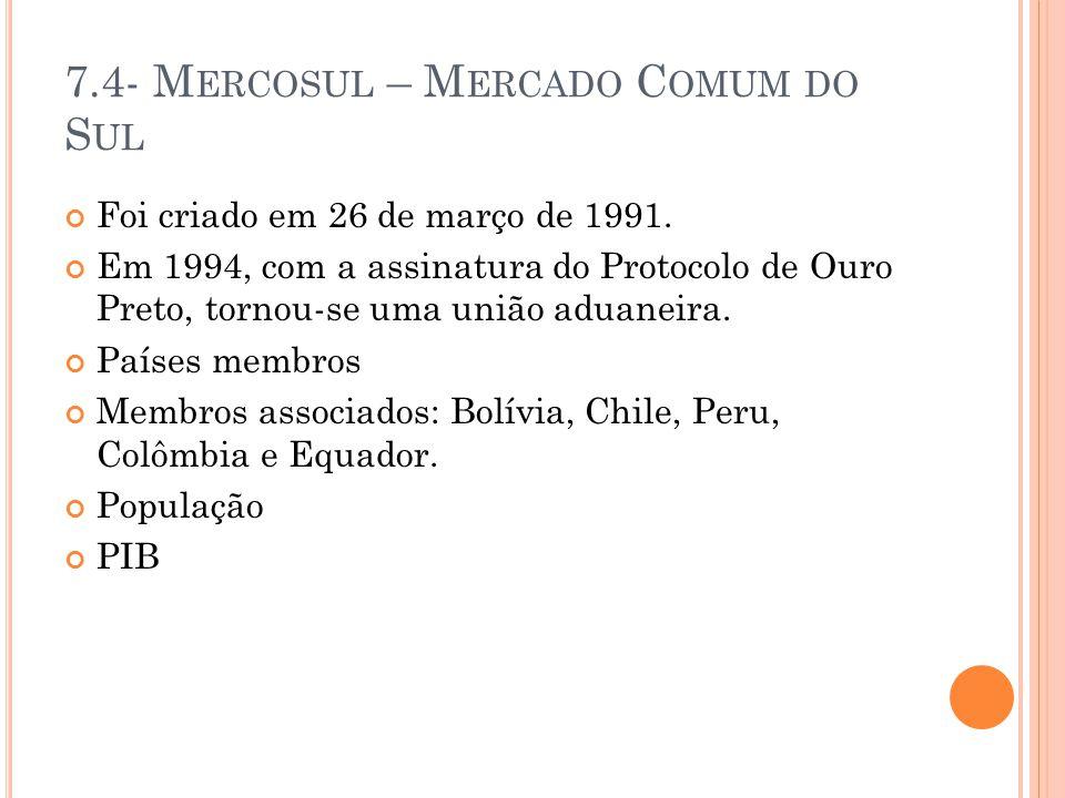 7.4- M ERCOSUL – M ERCADO C OMUM DO S UL Foi criado em 26 de março de 1991. Em 1994, com a assinatura do Protocolo de Ouro Preto, tornou-se uma união