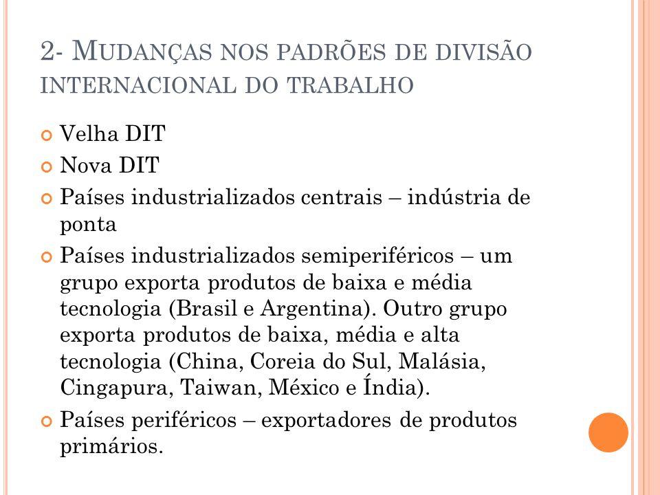 3- I NTERESSES ECONÔMICOS E COMÉRCIO INTERNACIONAL Conferência de Bretton Woods Novo padrão monetário (padrão dólar-ouro) Fim do padrão dólar-ouro (em 1973, na Jamaica) Sinais de crise da economia norte-americana (final da década de 1960) Objetivos do FMI Finalidade do BIRD GATT (1947) Rodada Uruguai (1986) Criação da OMC (1995)