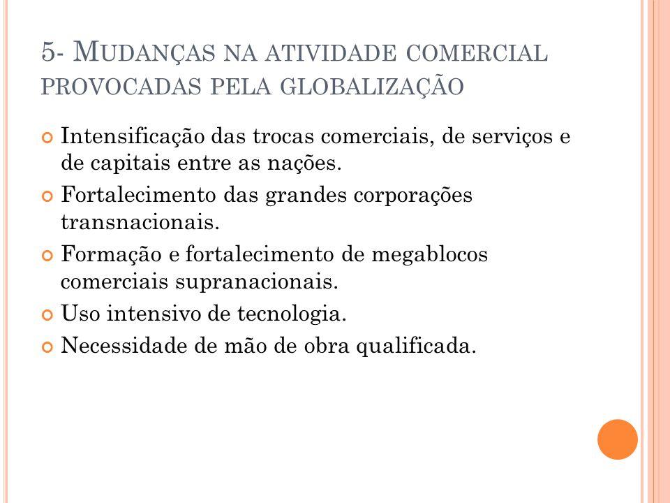 5- M UDANÇAS NA ATIVIDADE COMERCIAL PROVOCADAS PELA GLOBALIZAÇÃO Intensificação das trocas comerciais, de serviços e de capitais entre as nações.