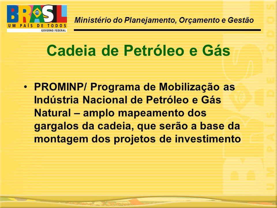 Cadeia de Petróleo e Gás •PROMINP/ Programa de Mobilização as Indústria Nacional de Petróleo e Gás Natural – amplo mapeamento dos gargalos da cadeia,