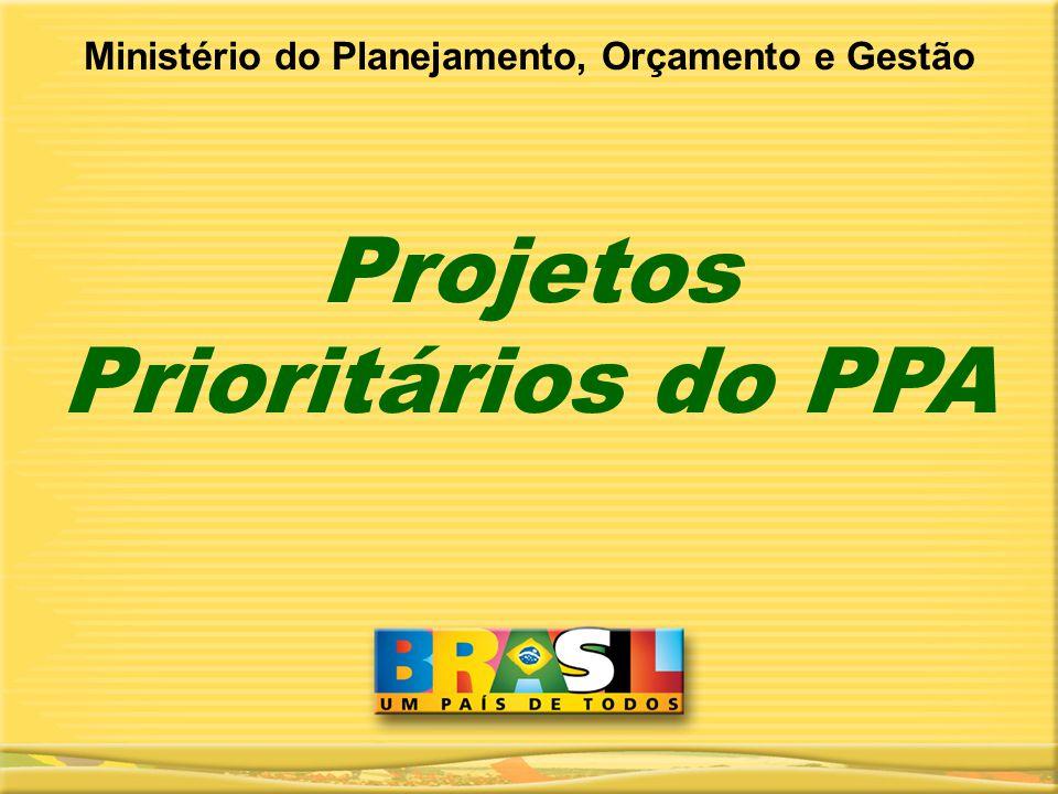 Projetos Prioritários do PPA Ministério do Planejamento, Orçamento e Gestão