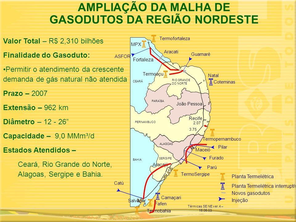 Termopernambuco Novos gasodutos Injeção Planta Termelétrica interruptível Planta Termelétrica Fortaleza Natal João Pessoa Recife Maceió Aracajú Salvad