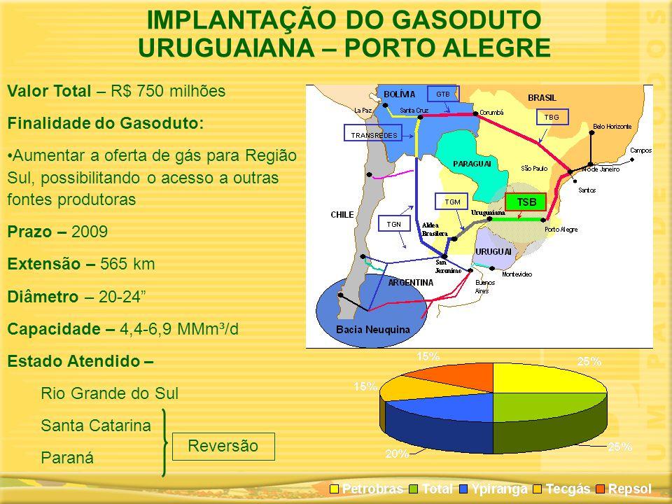 IMPLANTAÇÃO DO GASODUTO URUGUAIANA – PORTO ALEGRE Valor Total – R$ 750 milhões Finalidade do Gasoduto: •Aumentar a oferta de gás para Região Sul, poss