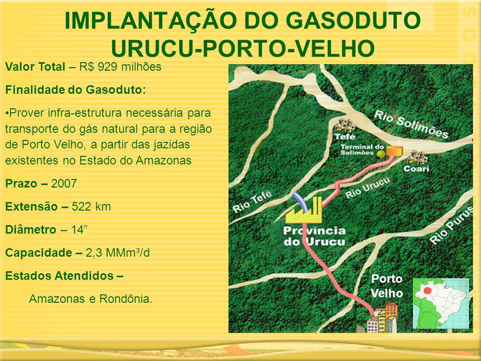 IMPLANTAÇÃO DO GASODUTO URUCU-PORTO-VELHO Valor Total – R$ 929 milhões Finalidade do Gasoduto: •Prover infra-estrutura necessária para transporte do g