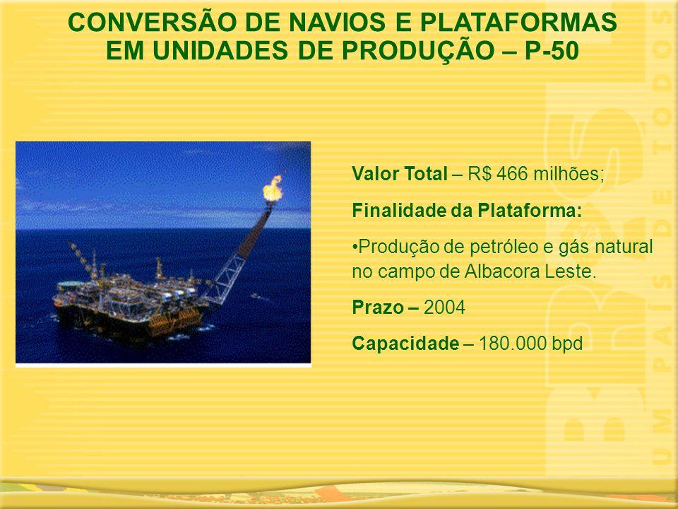 CONVERSÃO DE NAVIOS E PLATAFORMAS EM UNIDADES DE PRODUÇÃO – P-50 Valor Total – R$ 466 milhões; Finalidade da Plataforma: •Produção de petróleo e gás n