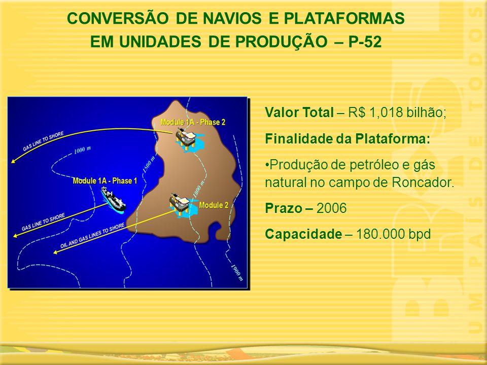 Valor Total – R$ 1,018 bilhão; Finalidade da Plataforma: •Produção de petróleo e gás natural no campo de Roncador. Prazo – 2006 Capacidade – 180.000 b