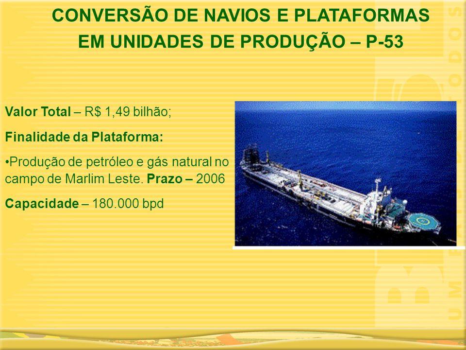 Valor Total – R$ 1,49 bilhão; Finalidade da Plataforma: •Produção de petróleo e gás natural no campo de Marlim Leste. Prazo – 2006 Capacidade – 180.00