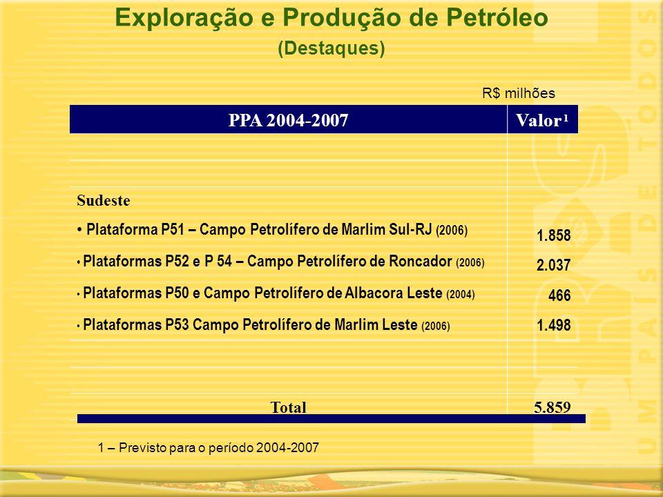 Exploração e Produção de Petróleo (Destaques) PPA 2004-2007Valor 1 Sudeste • Plataforma P51 – Campo Petrolífero de Marlim Sul-RJ (2006) • Plataformas