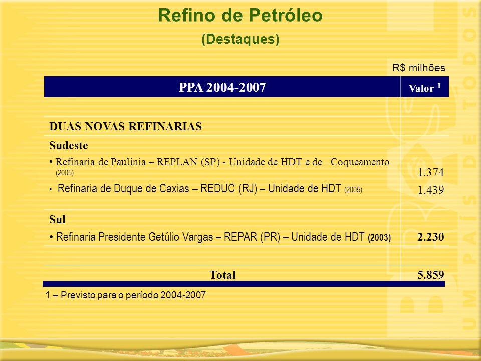PPA 2004-2007 Valor 1 DUAS NOVAS REFINARIAS Sudeste •Refinaria de Paulínia – REPLAN (SP) - Unidade de HDT e de Coqueamento (2005) • Refinaria de Duque