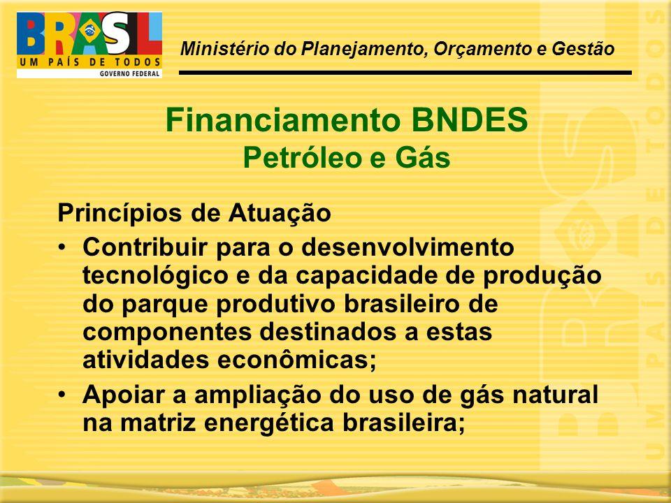 Financiamento BNDES Petróleo e Gás Princípios de Atuação •Contribuir para o desenvolvimento tecnológico e da capacidade de produção do parque produtiv