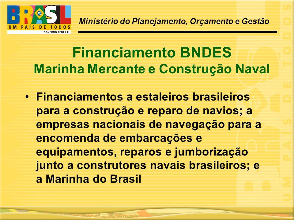 Financiamento BNDES Marinha Mercante e Construção Naval •Financiamentos a estaleiros brasileiros para a construção e reparo de navios; a empresas naci