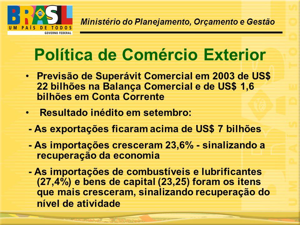 Política de Comércio Exterior •Previsão de Superávit Comercial em 2003 de US$ 22 bilhões na Balança Comercial e de US$ 1,6 bilhões em Conta Corrente •
