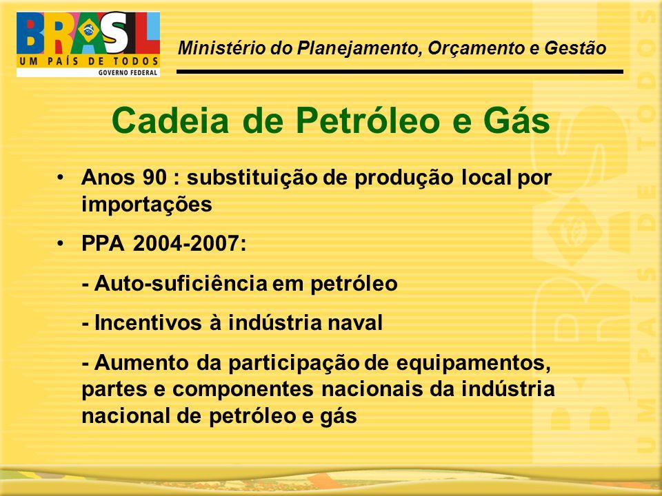 Cadeia de Petróleo e Gás •Anos 90 : substituição de produção local por importações •PPA 2004-2007: - Auto-suficiência em petróleo - Incentivos à indús