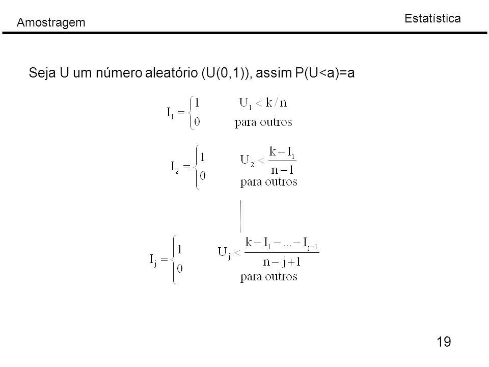 Estatística Amostragem 19 Seja U um número aleatório (U(0,1)), assim P(U<a)=a