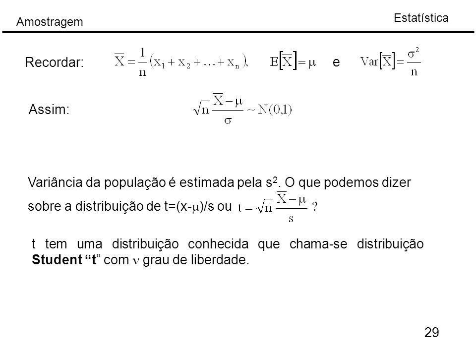 Estatística Amostragem 29 Recordar: e Assim: Variância da população é estimada pela s 2.