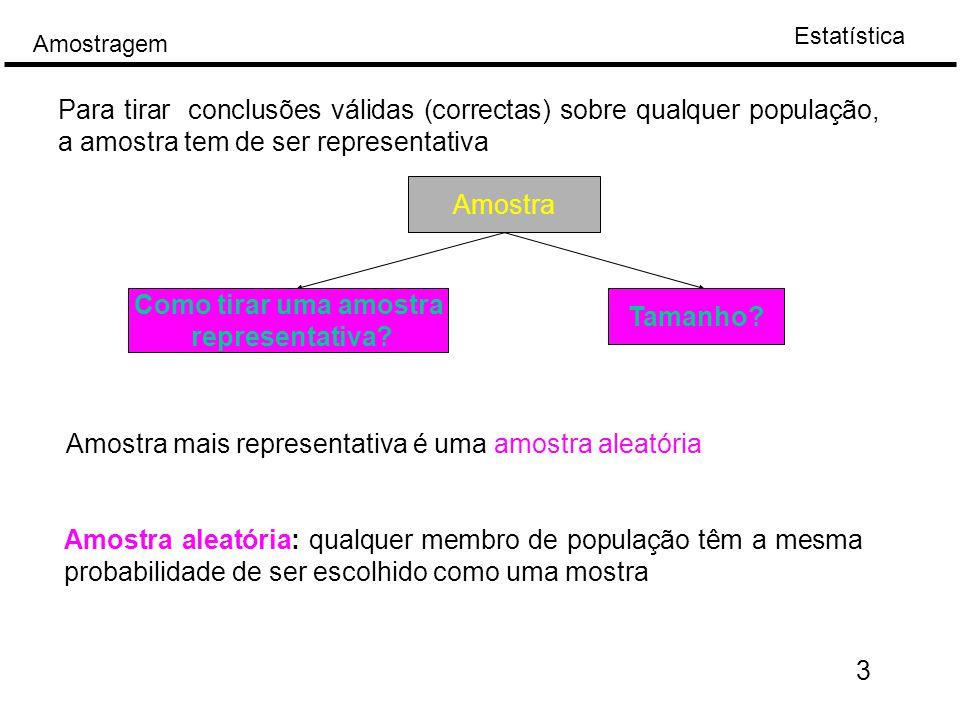 Estatística Amostragem Amostra aleatória: qualquer membro de população têm a mesma probabilidade de ser escolhido como uma mostra Para tirar conclusões válidas (correctas) sobre qualquer população, a amostra tem de ser representativa Amostra Como tirar uma amostra representativa.