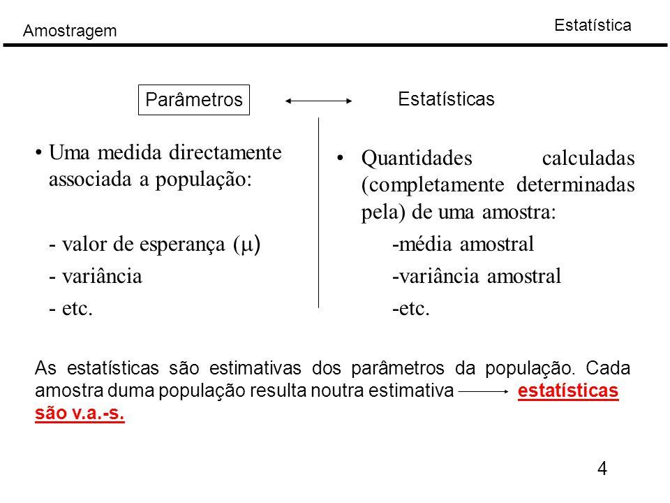 Estatística Amostragem 35 Amostragem de distribuição binomial: Distribuição Bernoulli e binomial (Bi  n,p))  Seja X é uma v.a.
