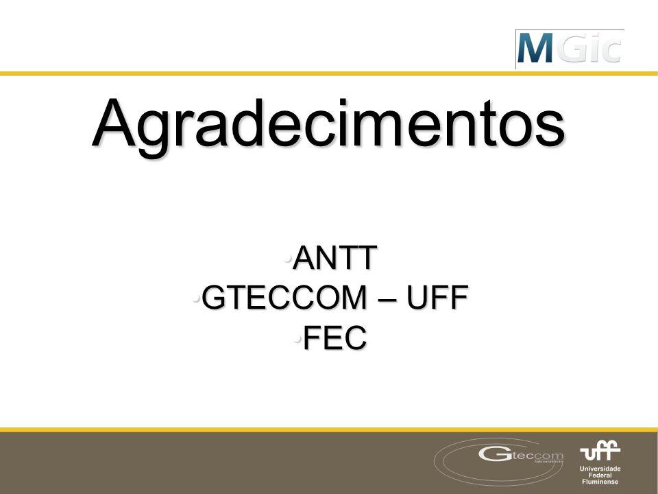 Agradecimentos •ANTT •GTECCOM – UFF •FEC