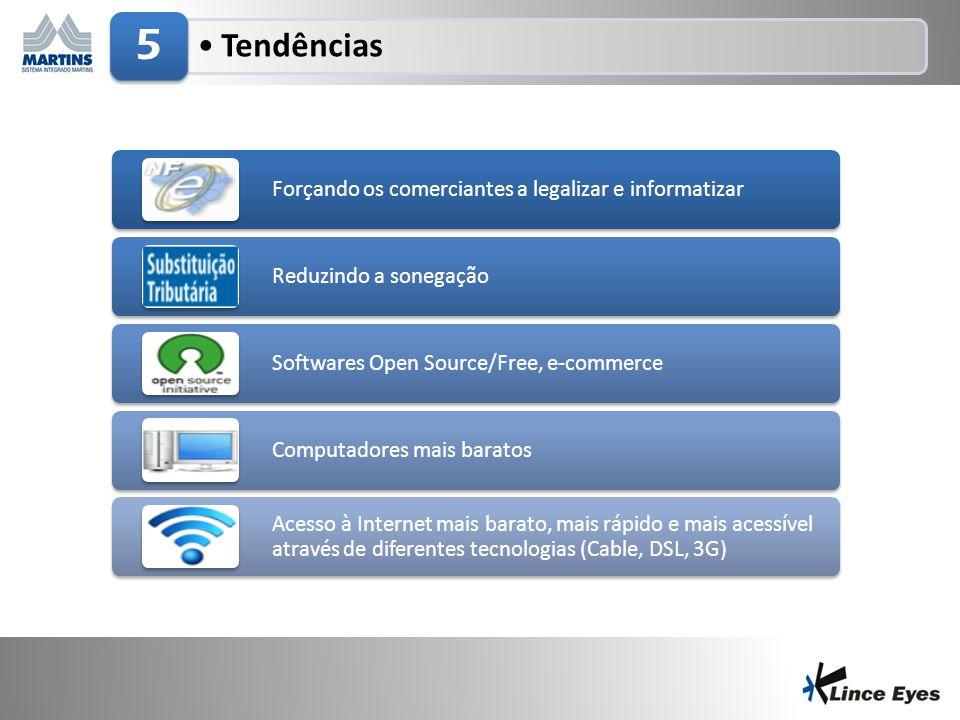 29/6/201418 •Tendências 5 Forçando os comerciantes a legalizar e informatizar Reduzindo a sonegação Softwares Open Source/Free, e-commerce Computadore