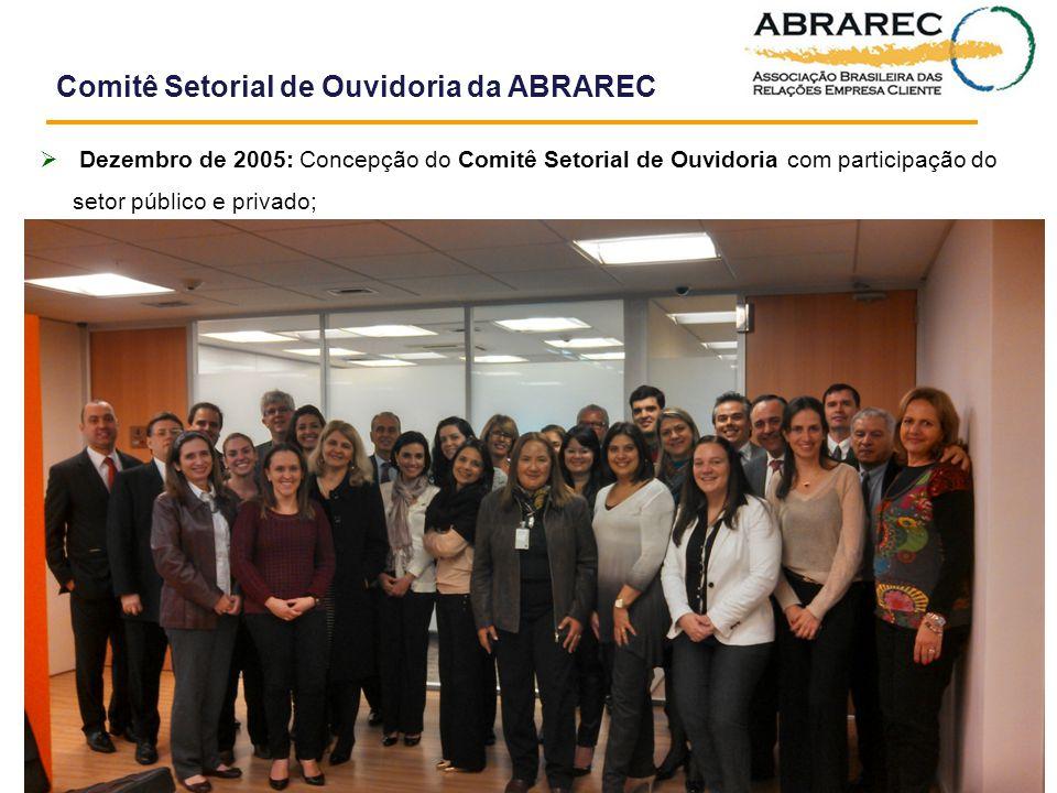  Dezembro de 2005: Concepção do Comitê Setorial de Ouvidoria com participação do setor público e privado; Comitê Setorial de Ouvidoria da ABRAREC Abr
