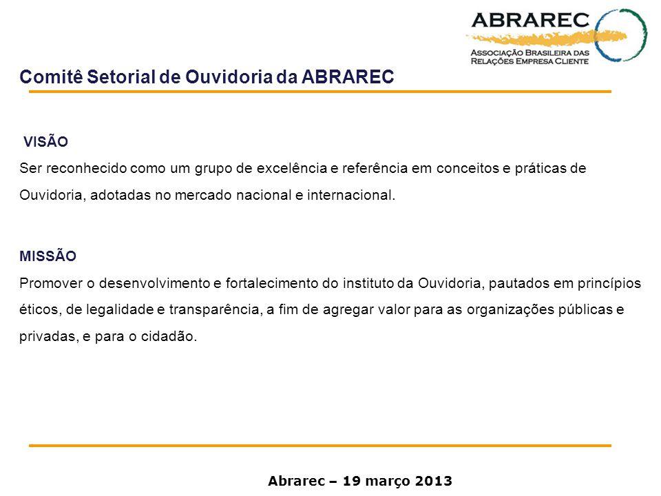 Comitê Setorial de Ouvidoria da ABRAREC VISÃO Ser reconhecido como um grupo de excelência e referência em conceitos e práticas de Ouvidoria, adotadas