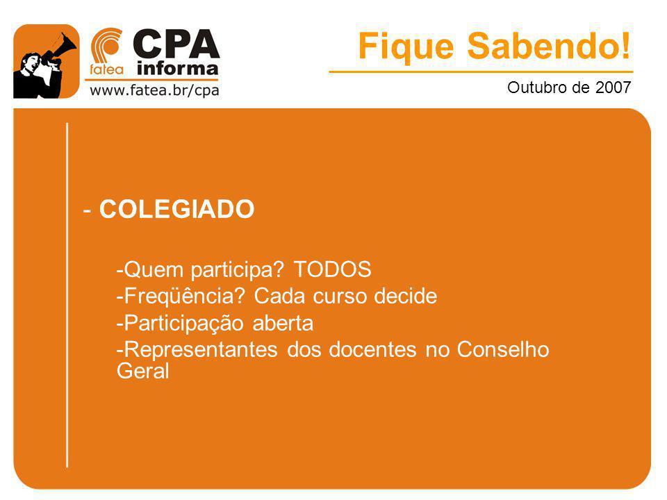 Fique Sabendo! Outubro de 2007 - COLEGIADO -Quem participa? TODOS -Freqüência? Cada curso decide -Participação aberta -Representantes dos docentes no