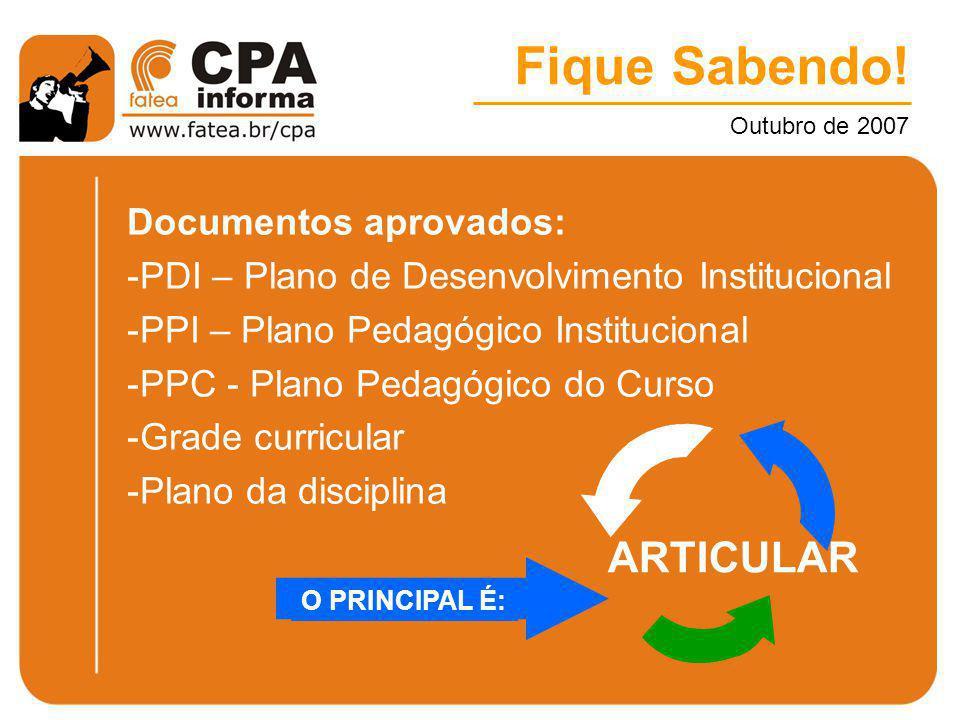 Fique Sabendo! Outubro de 2007 Documentos aprovados: -PDI – Plano de Desenvolvimento Institucional -PPI – Plano Pedagógico Institucional -PPC - Plano
