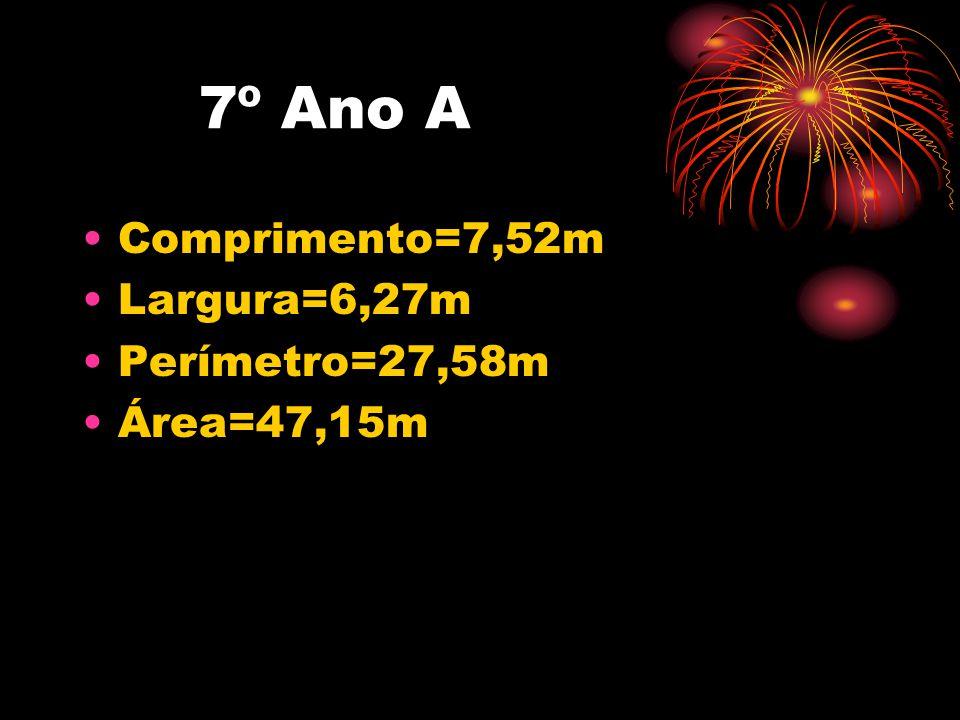 7º Ano A •Comprimento=7,52m •Largura=6,27m •Perímetro=27,58m •Área=47,15m