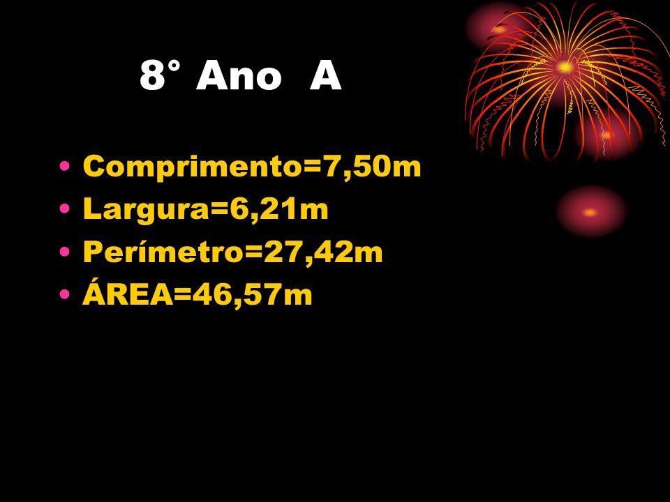 8° Ano A •Comprimento=7,50m •Largura=6,21m •Perímetro=27,42m •ÁREA=46,57m