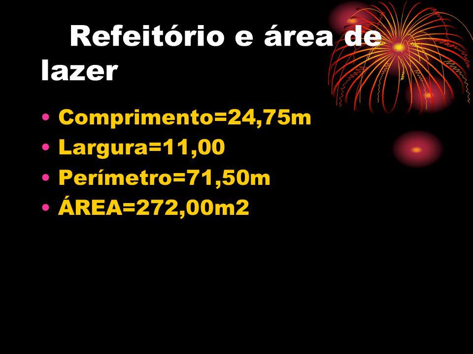 Refeitório e área de lazer •Comprimento=24,75m •Largura=11,00 •Perímetro=71,50m •ÁREA=272,00m2