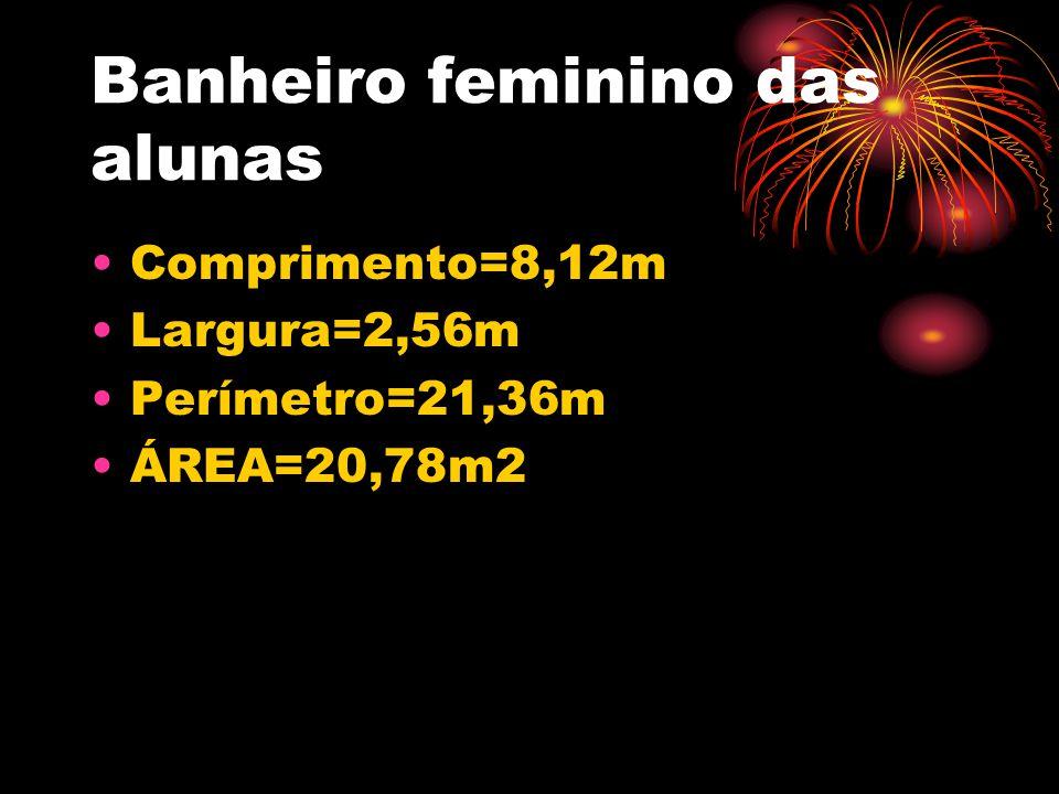 Banheiro feminino das alunas •Comprimento=8,12m •Largura=2,56m •Perímetro=21,36m •ÁREA=20,78m2