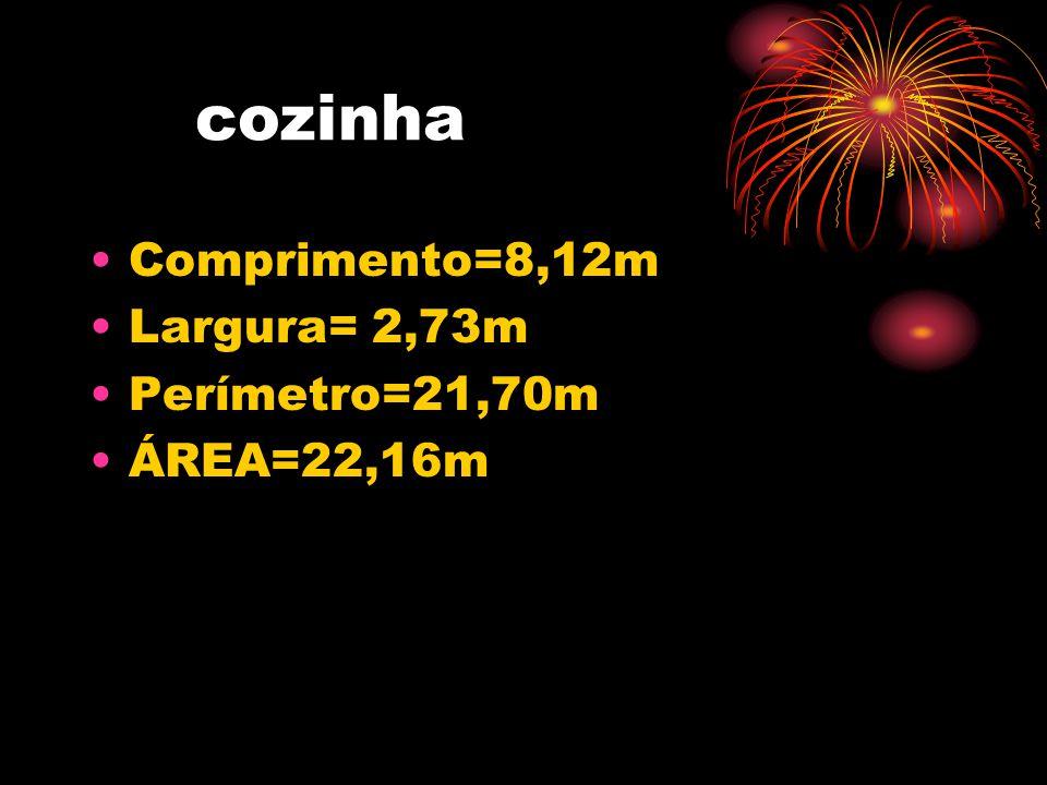 cozinha •Comprimento=8,12m •Largura= 2,73m •Perímetro=21,70m •ÁREA=22,16m