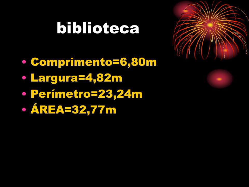 biblioteca •Comprimento=6,80m •Largura=4,82m •Perímetro=23,24m •ÁREA=32,77m