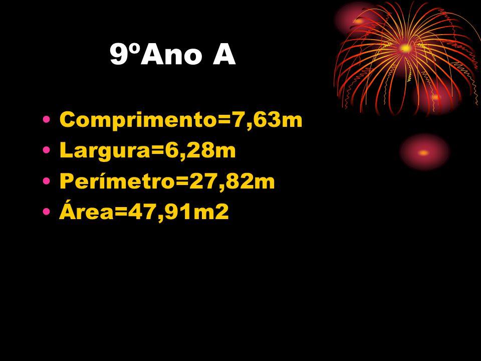 9ºAno A •Comprimento=7,63m •Largura=6,28m •Perímetro=27,82m •Área=47,91m2