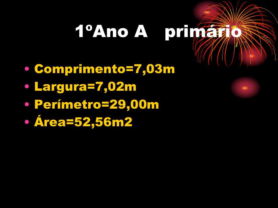 1ºAno A primário •Comprimento=7,03m •Largura=7,02m •Perímetro=29,00m •Área=52,56m2