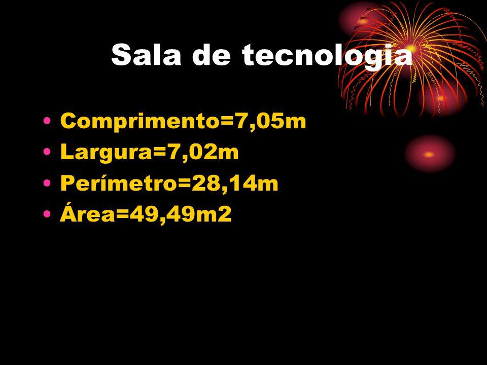 Sala de tecnologia •Comprimento=7,05m •Largura=7,02m •Perímetro=28,14m •Área=49,49m2