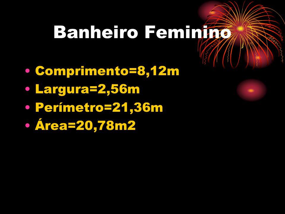 Banheiro Feminino •Comprimento=8,12m •Largura=2,56m •Perímetro=21,36m •Área=20,78m2