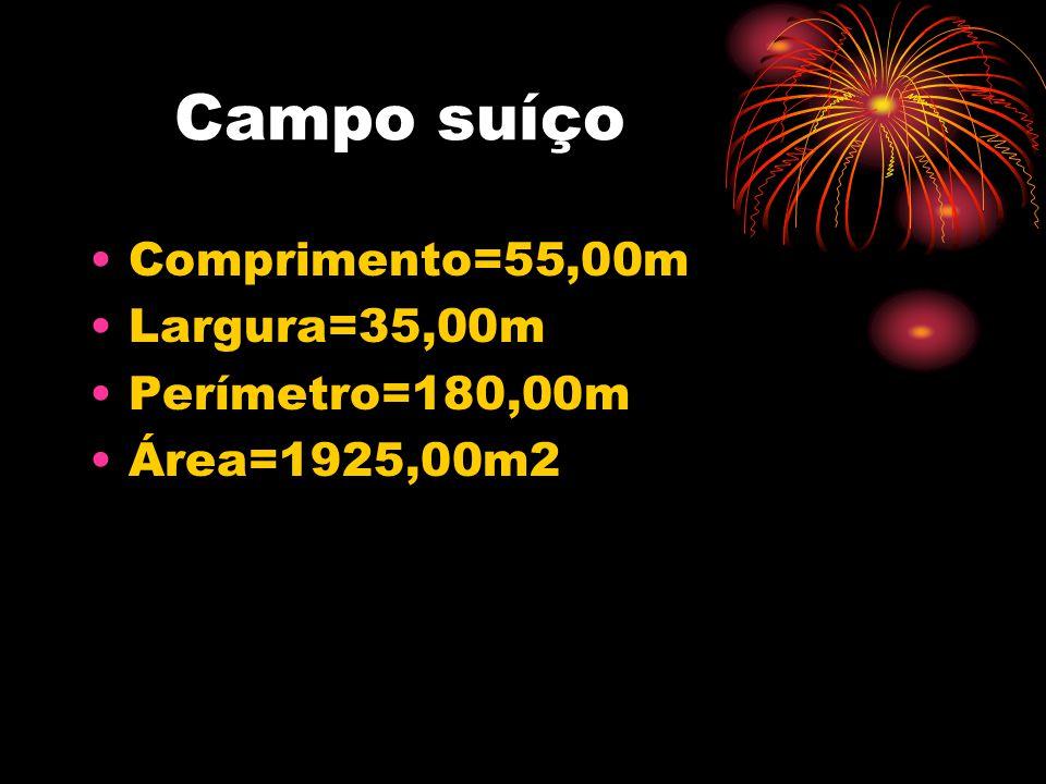 Campo suíço •Comprimento=55,00m •Largura=35,00m •Perímetro=180,00m •Área=1925,00m2