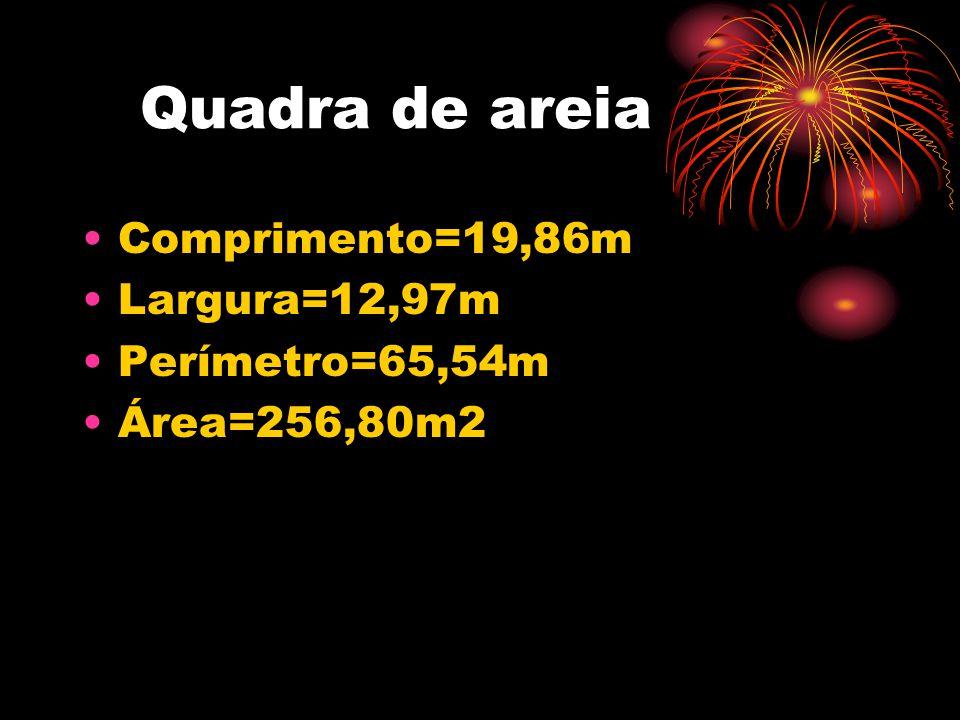 Quadra de areia •Comprimento=19,86m •Largura=12,97m •Perímetro=65,54m •Área=256,80m2
