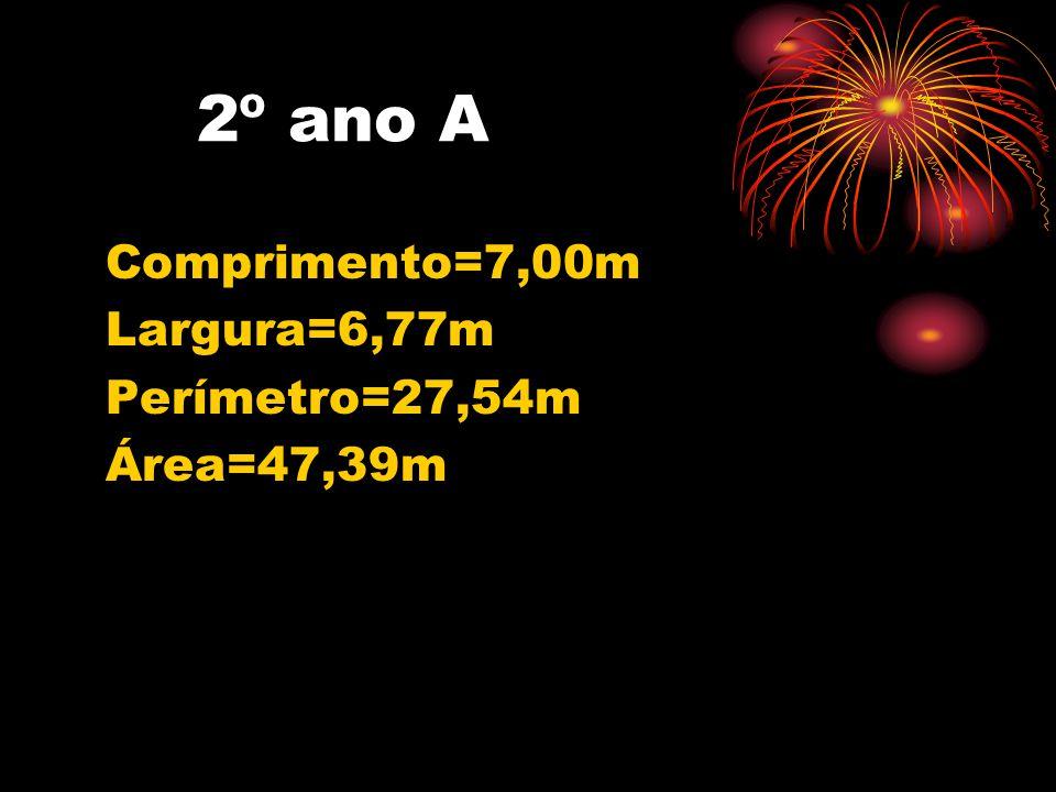 3° ano A •Comprimento=6,78m •Largura=4,74m Perímetro=23,04m Área=32,13m